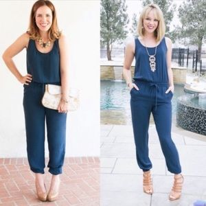 CAbi French navy blue pants jumpsuit style #303